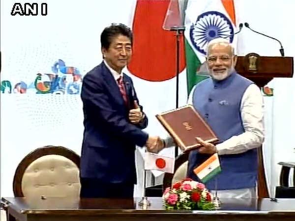 Pm Narendra Modi Pm Shino Abe At Mahatma Mandir