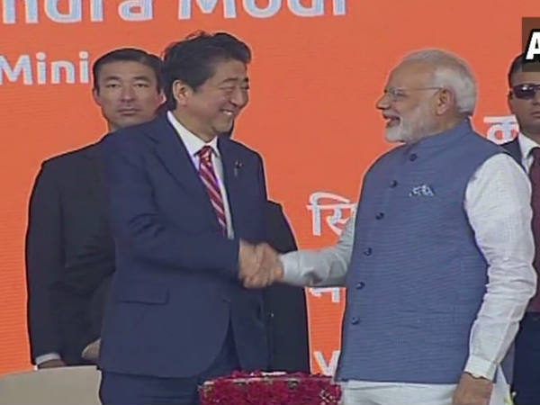 Pm Modi Pm Shinzo Abe Lay Foundation Bullet Train Project