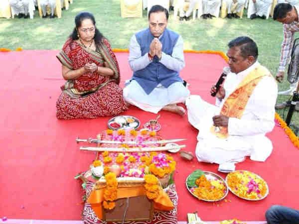 Dussehra Gujarat Cm Vijay Rupani Performed Shastra Puja