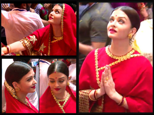 Aishwarya Rai Bachchan Visits Lalbaugcha Raja Ganapati Darsan Spotted In Red Saree Latest Pictures