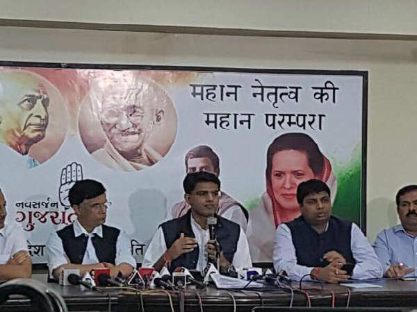 Sachin Pilot Addressing Press Conference Ahmedabad