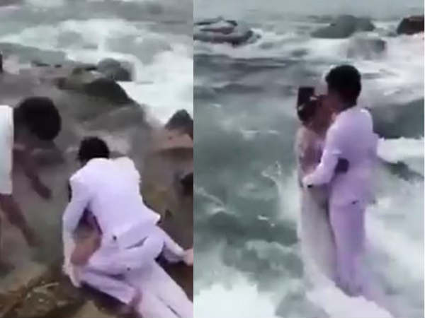 Video This Romantic Wedding Photo Shoot The Beach Went Wrong