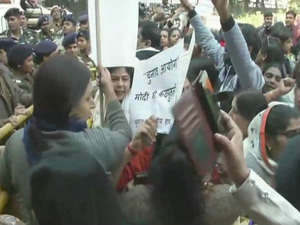 Congress Workers Marching Election Commission Protest Over Pm Modi Roadshow After Casting His Vote