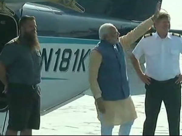 Narendra Modi Begin His Travel Via Sea Plane From Sabarmati To Dharoi