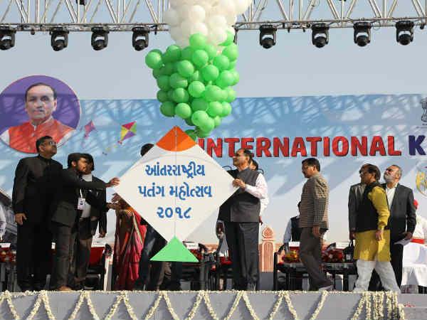 Cm Rupani Flag Off International Marathon Kite Festival