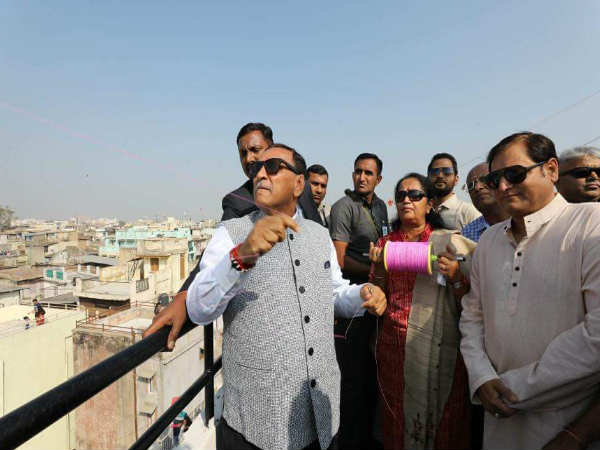 Cm Rupani Celebrated Uttrayan Ahmedabad