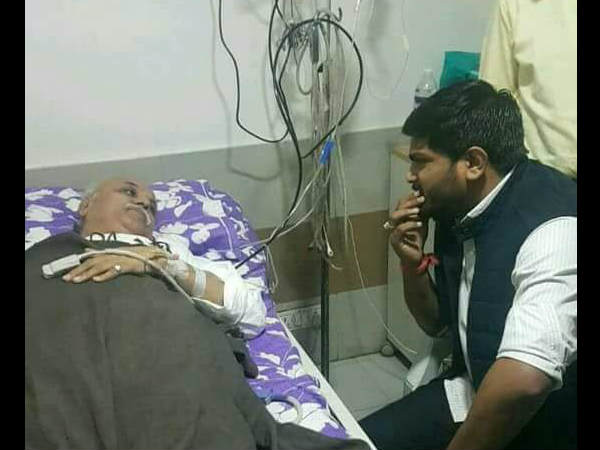 Hardik Pate Met Praveen Togadiya At The Hospital