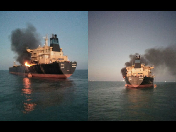 Major Fire Broke At Mt Genessa Oil Tanker 26 Crew Member Rescued