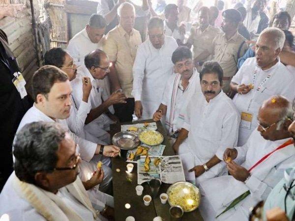 Congress President Rahul Gandhi At Tea Stall In Kalmala Village Of Raichur
