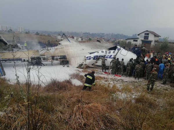 Plane Crashes At Tribhuvan International Airport Kathmandu Nepal