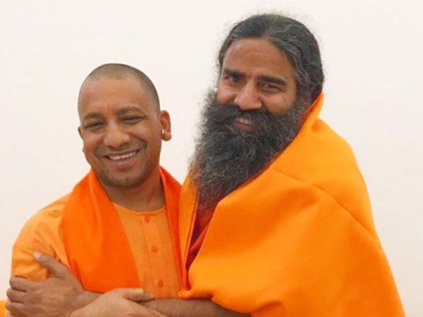 Cm Yogi Adityanath Talks Baba Ramdev About Patanjali Food Herbal Park Project Uttar Pradesh