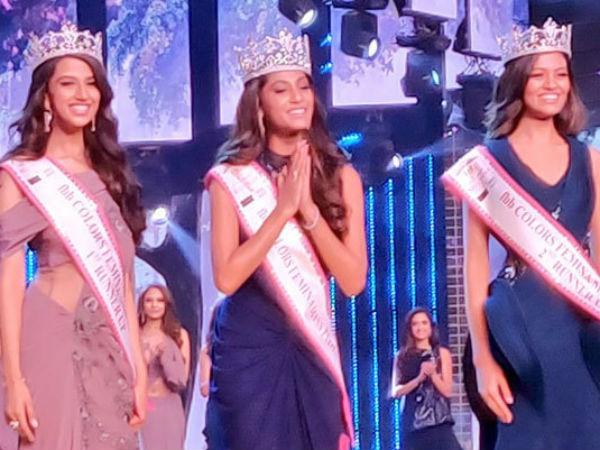Miss Anukreethy Vas From Tamil Nadu Was Declared The Winner