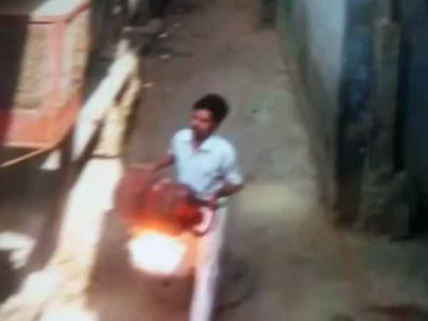 burning lpg cylinde video viral