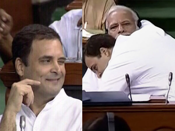 Rahul Gandhi Winks After Hugging Pm Narendra Modi Lok Sabha