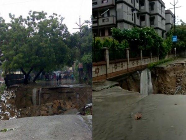 Delhi Rains Road Caves Vasundhara Sector 4 Ghaziabad After Heavy Rain Shower In Delhi Ncr