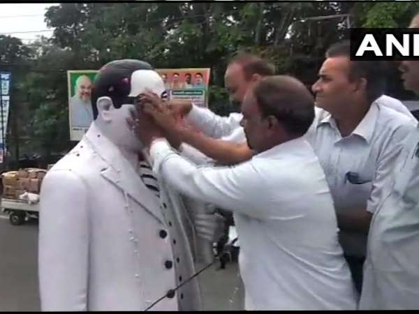 Dalits Purified Br Ambedkar Statue Meerut After Bjp Mp Rakes