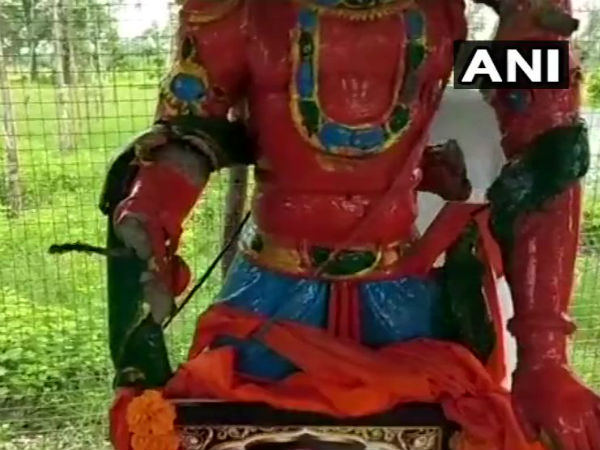 Unknown Miscreants Vandalised The Statue Of Lord Hanuman At Village In Telangana