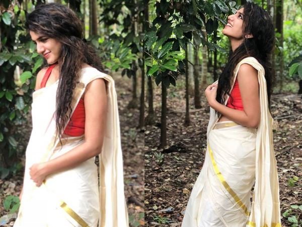 Pictures Winking Queen Priya Prakash Varrier Saree Is Brea