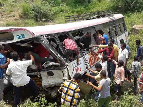 Rtc Bus Fell Into Gorge Near Kondagattu Jagtial Telangana