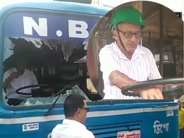 Bus Drivers Weraring Helmet Bengal As Bjp Bandh Turns Violen