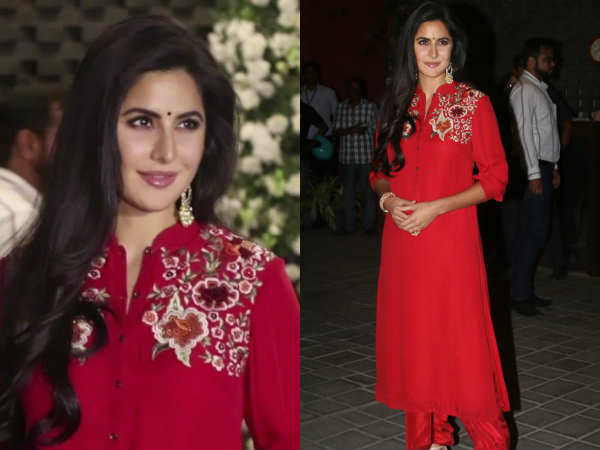 Katrina Kaif Look Mesmerizing Red Dress During Ganpati Puja