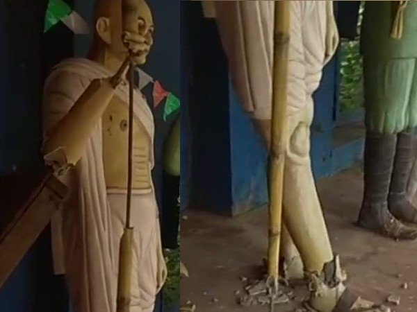 Statue Mahatma Gandhi Vandalised Unidentified Miscreants Vis