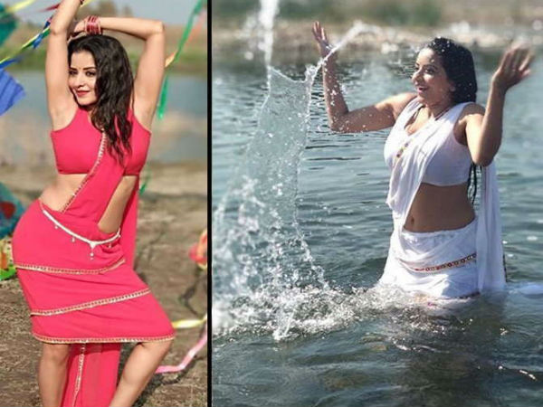 Bhojpuri Superstar Monalisa New Hot White Sari Pic