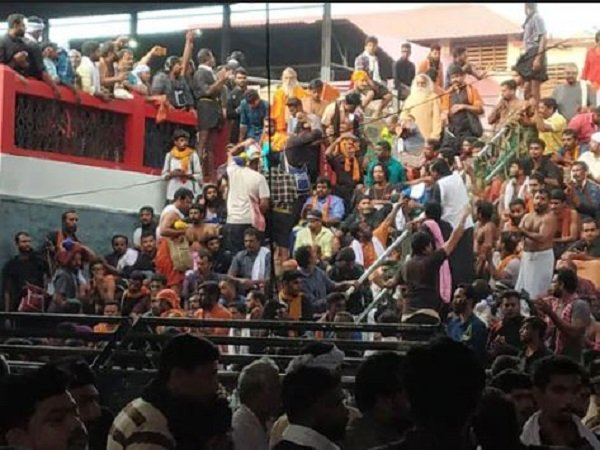 Kerala Old Woman Injured During Protest Outside Sabarimala