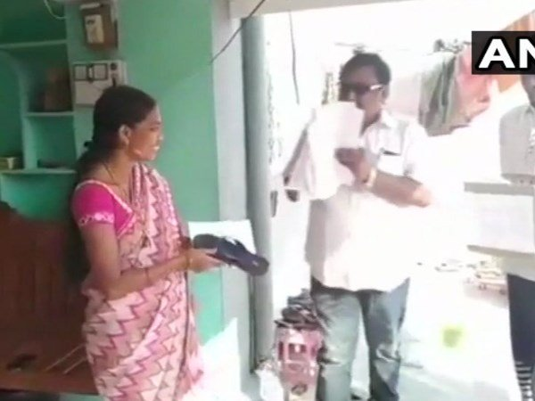 Telangana Candidate Akula Hanumanth Hands Out Slippers Wants People To Beat Him