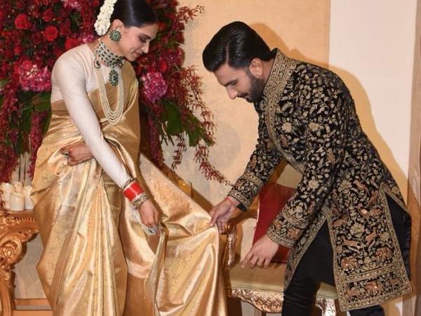 A Video Ranveer Singh Adjusting Deepika Padukone S Saree At Bengaluru Wedding Reception Going Viral