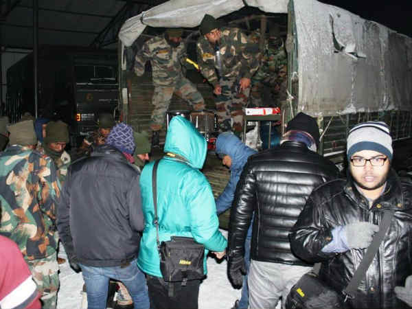 Indian Army Rescues Around 2500 Tourists Stranded At Nathula Indo China Border Due Snowfall