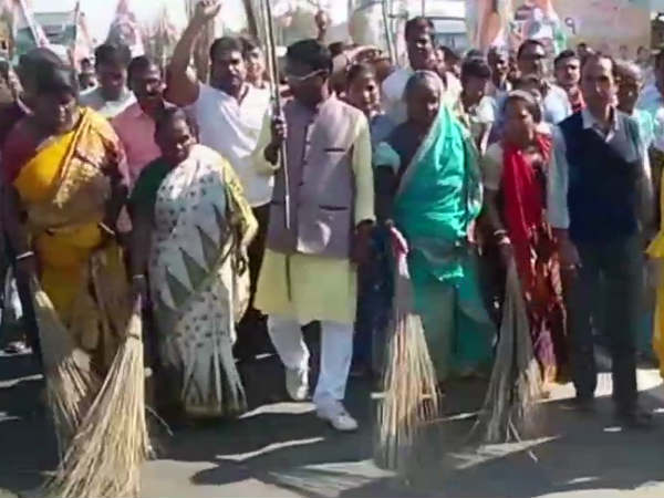 Tmc Workers Purified Ground With Gangajal Cow Dung Water After Bjp Held Rally