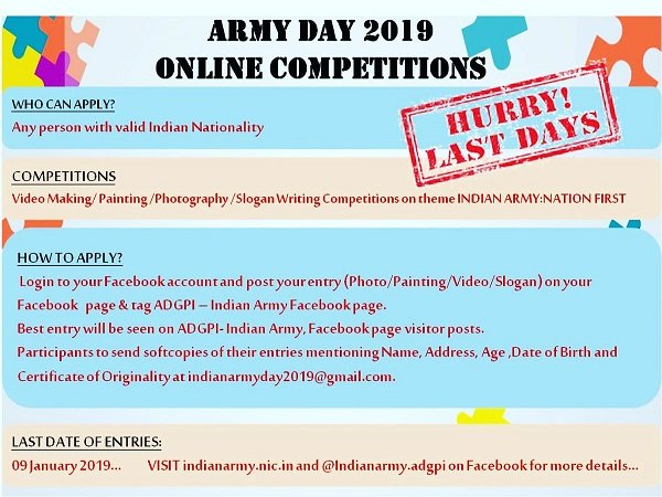 Indian Army Celebrates Army Day On 15 January 2019 Participate In Online Competitions