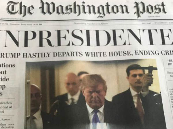 Us President Donald Trump Resigns Fake News Washington Post