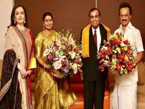 Mukesh Ambani Invites Dmk Chief Mk Stalin Son Wedding