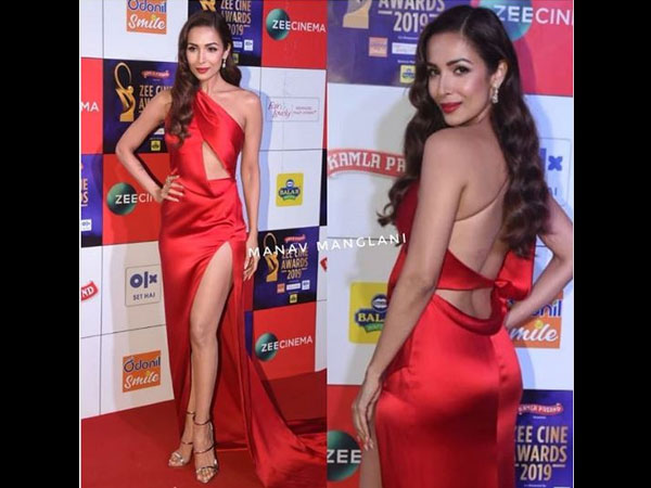 Malaika Arora Khan Stuns Bold Red Attire On The Red Carpet Zee Cine Award