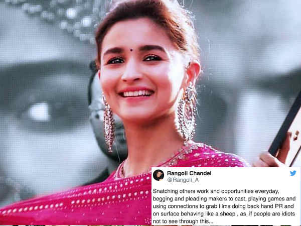 Kangana Ranaut S Sister Rangoli Chandel Hits Back At Alia Bhatt For Begging Movies