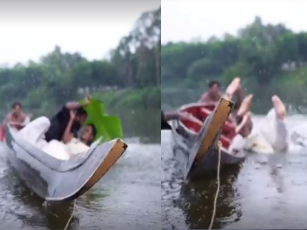 Kerala Couple Falls Into River From Boat During Romantic Pre Wedding Photoshoot