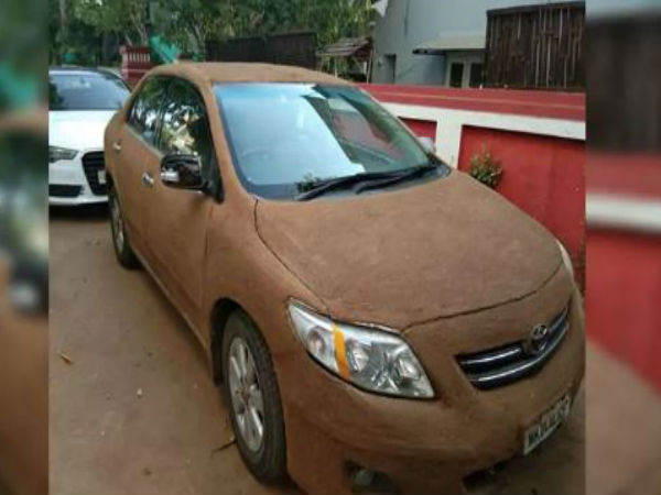 Car Owner Coats Vehicle With Cow Dung To Keep It Cool Pics