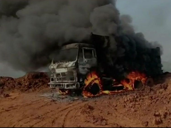 Naxals Set Fire On Vehicles Near Dantewada None Dead