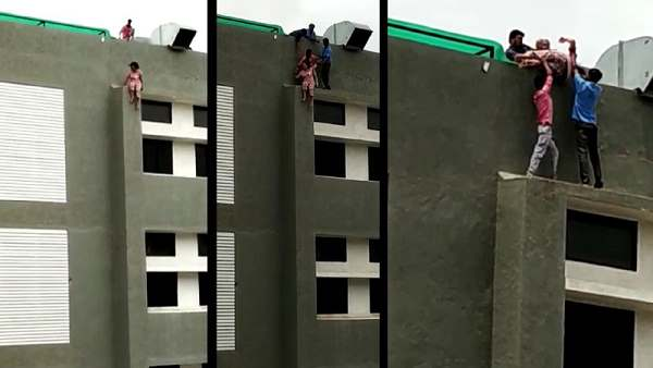 Video Rescued A Woman Who Was Going To Jump From The Hospital Roof In Gujarat