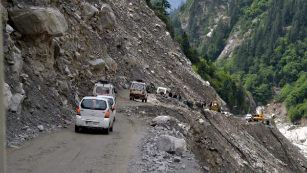 Uttarakhand Badrinath Highway Shut Boulders Blocked Road Lambagad Heavy Rain