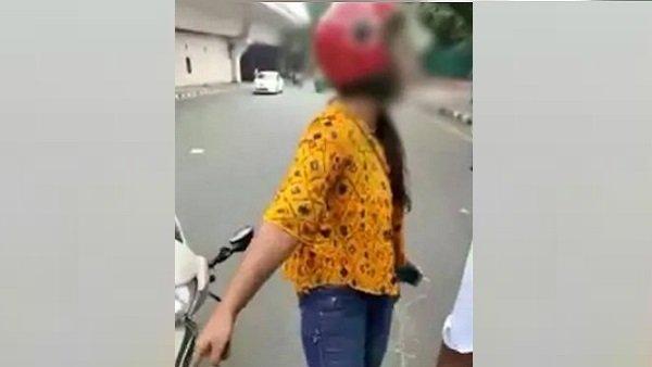 ટ્રાફિક પોલીસના રોકવા પર સુસાઇડ કરવાની ધમકી આપવા લાગી યુવતી
