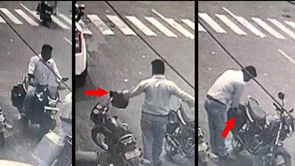 Video Of A Person Stealing Helmets In Gujarat Goes Viral