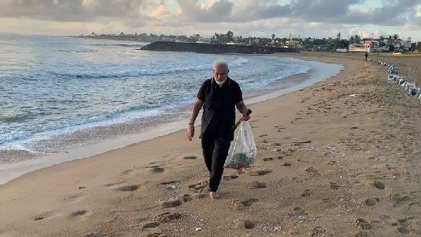 સમુદ્ર કિનારે પીએમ મોદીને કચરો દેખાયો તો જાતે સાફ કરવા લાગ્યા, જુઓ Video