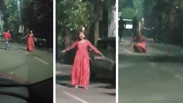 Video: રસ્તા પર ચીસો પાડતી યુવતી અચાનક ઊંધું દોડવા લાગી