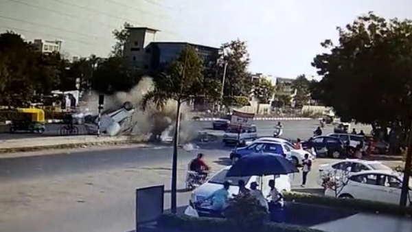 Gujarat Ahemdabad Road Accident Video Viral On Social Media
