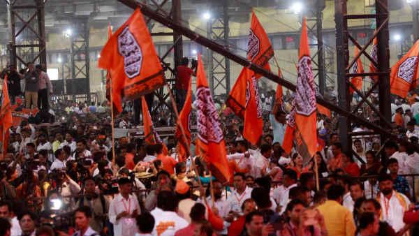 Shivaji S Seal On Saffron Flag And Veer Savarkar On Stage D