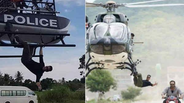 Pics Akshay Kumar S Helicopter Stunt Leak Rohit Shetty Appear