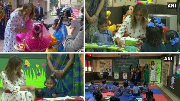 અમેરીકાની ફર્સ્ટ લેડી મેલેનિયા ટ્રંપનું દિલ્હીની સ્કુલમાં થયું ભવ્ય સ્વાગત, બાળકો સાથે કરી મુલાકાત
